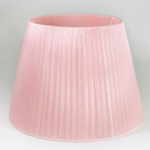 Paralume tronco cono, Ø 30 cm, Ø superiore 20 cm, h 22 cm, tessuto organza rosa. Attacco E27