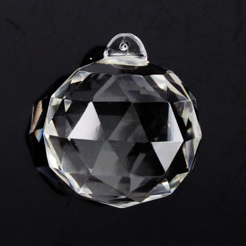 Pendente sfera 35 mm sfaccettata in cristallo trasparente di Boemia. Cristallo vintage per restauro lampadari.