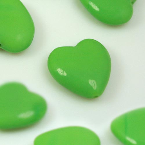 Perla cuore in pasta di vetro verde, 15 mm