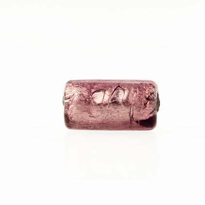 Perla di Murano cilindro Sommerso Ø8x15. Vetro ametista, foglia argento. Foro passante.
