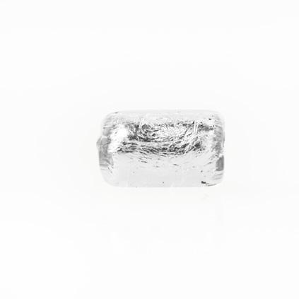 Perla di Murano cilindro Sommerso Ø8x15. Vetro trasparente, foglia argento. Foro passante.