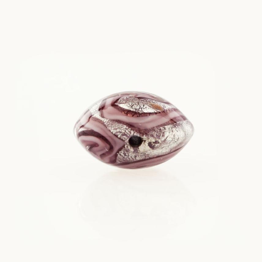 Perla di Murano schissa Medusa Ø14. Vetro rosa , foglia argento e avventurina. Foro passante.