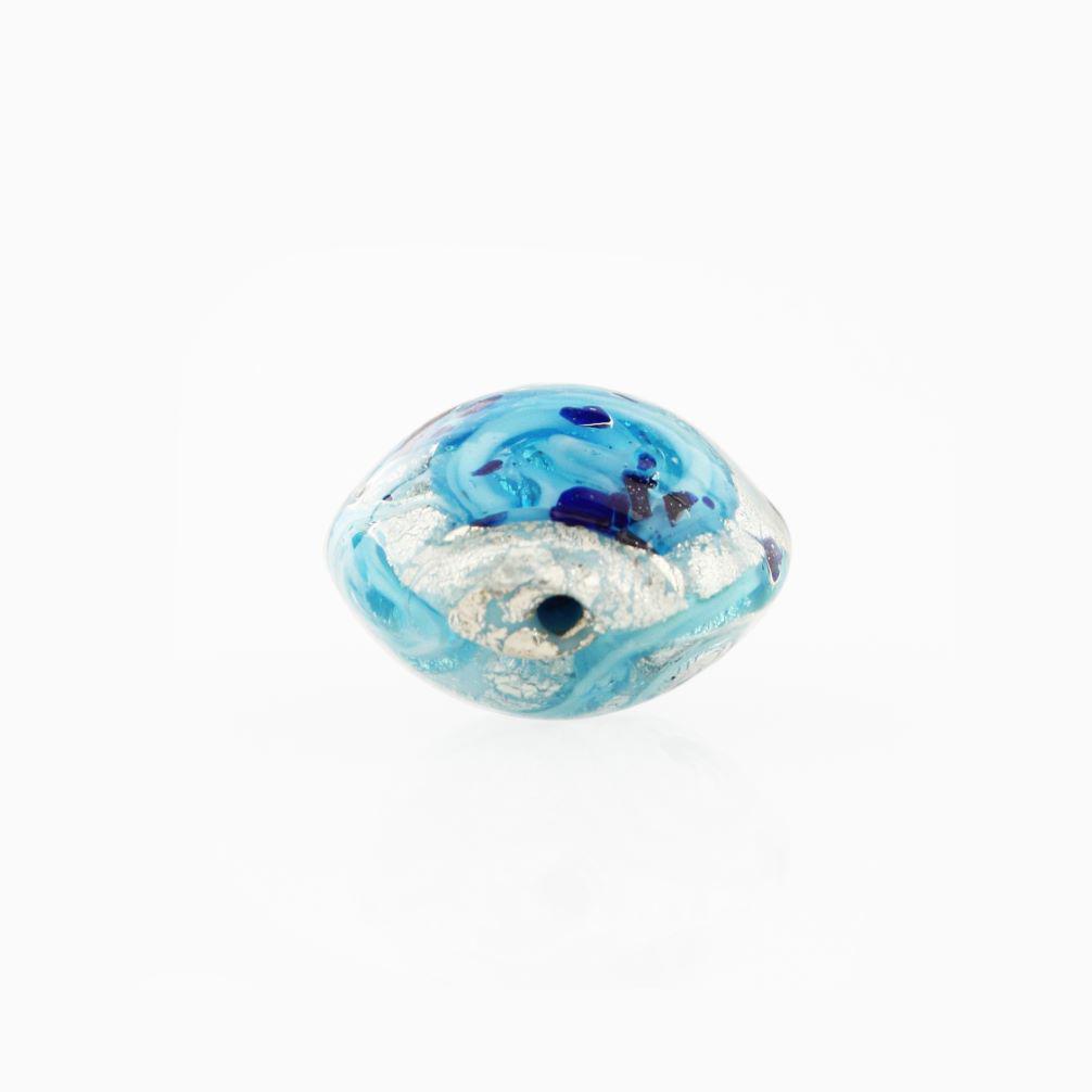 Perla di Murano schissa Medusa Ø14. Vetro turchese, foglia argento e avventurina. Foro passante.