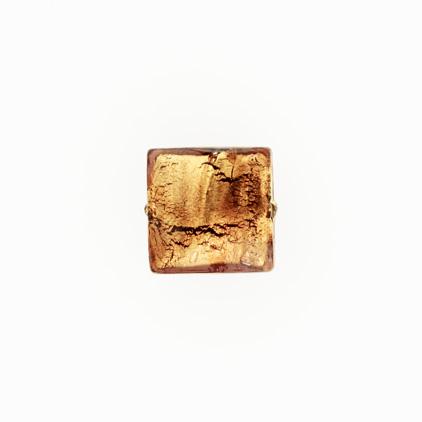 Perla di Murano schissa quadrata Ø14. Vetro sommerso ametista, foglia oro. Foro passante.