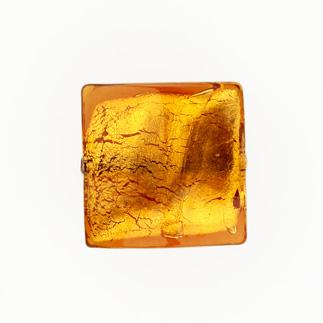 Perla di Murano schissa quadrata Ø18. Vetro sommerso topazio, foglia oro. Foro passante.