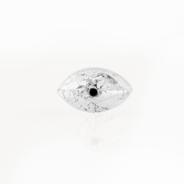 Perla di Murano schissa Sommersa Ø14. Vetro trasparente e foglia argento. Foro passante.