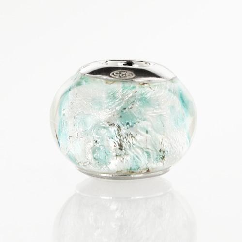 Perla di Murano stile Pandora Graniglia Ø13. Vetro acquamare chiaro, foglia argento. Borchia argento 925. Foro passante.
