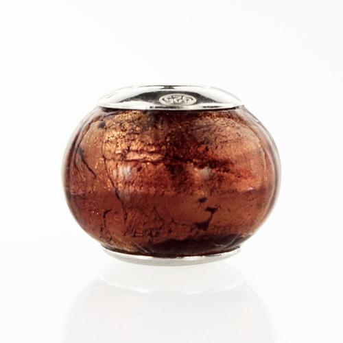 Perla di Murano stile Pandora Sommersa Ø13. Vetro ametista, foglia oro. Borchia argento 925. Foro passante.