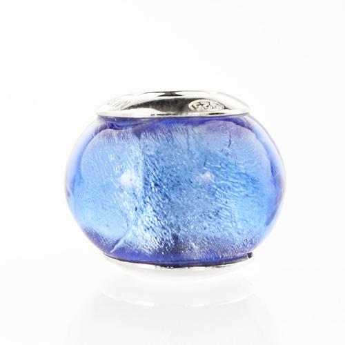 Perla di Murano stile Pandora Sommersa Ø13. Vetro bluino scuro, foglia argento. Borchia argento 925. Foro passante.