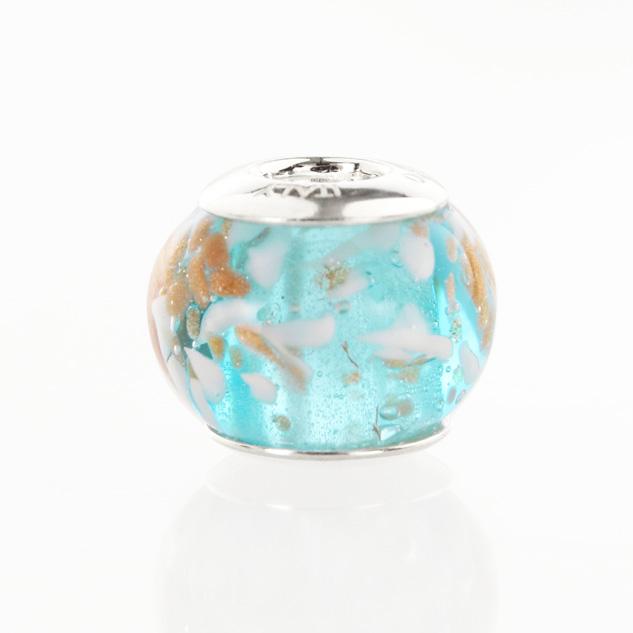 Perla di Murano stile Pandora Sommersa Ø13. Vetro turchese, graniglia bianca, avventurina. Borchia argento 925. Foro passante.