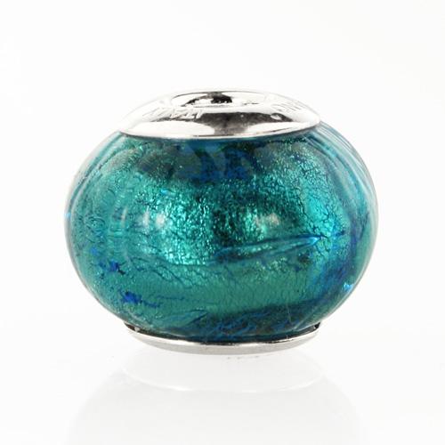 Perla di Murano stile Pandora Sommersa Ø13. Vetro verde smeraldo chiaro, foglia argento. Borchia argento 925. Foro passante.