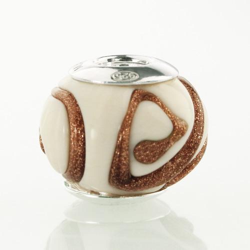 Perla di Murano stile Pandora Vortice Ø13. Vetro bianco e avventurina. Borchia argento 925. Foro passante.