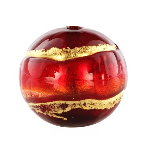 Perla di Murano tonda Sommersa Ø14. Vetro rosso, ametista, foglia oro. Foro passante.