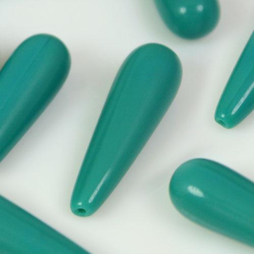 Perla goccia in pasta di vetro verde acquamare, 1 foro, 24 mm