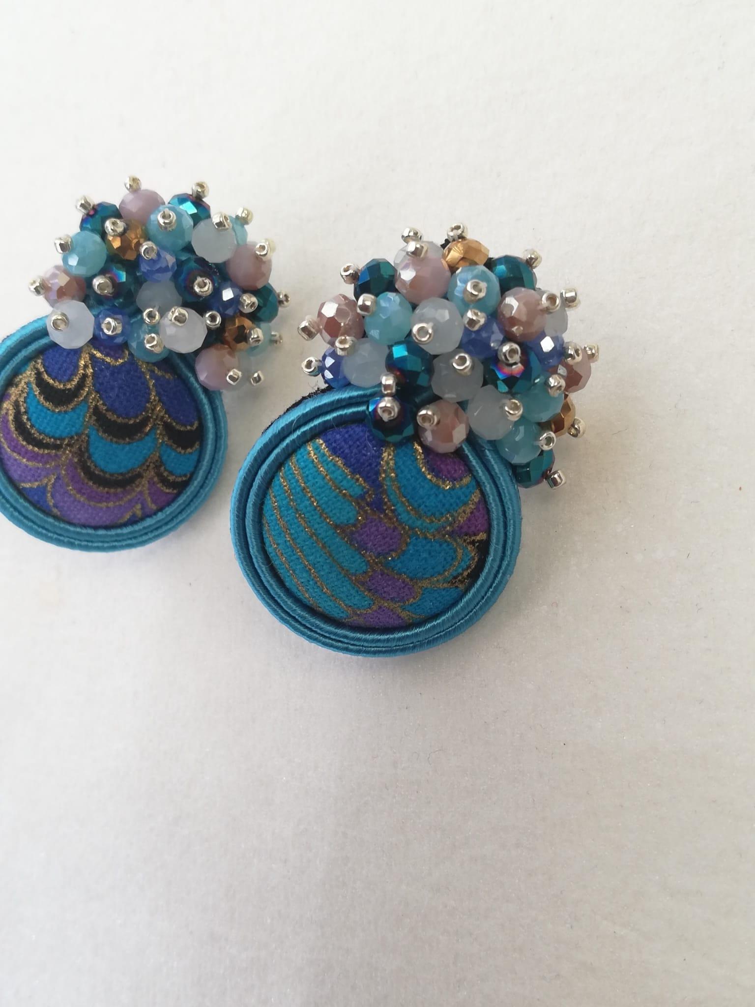 Handmade blue jewelry soutache earrings