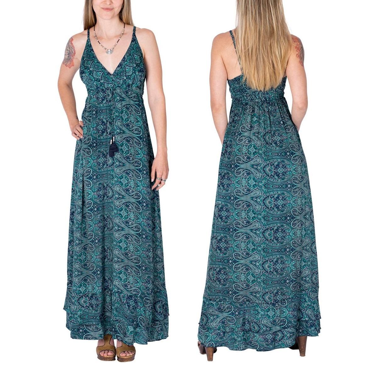 Robe longue en soie col en V | Vente en ligne