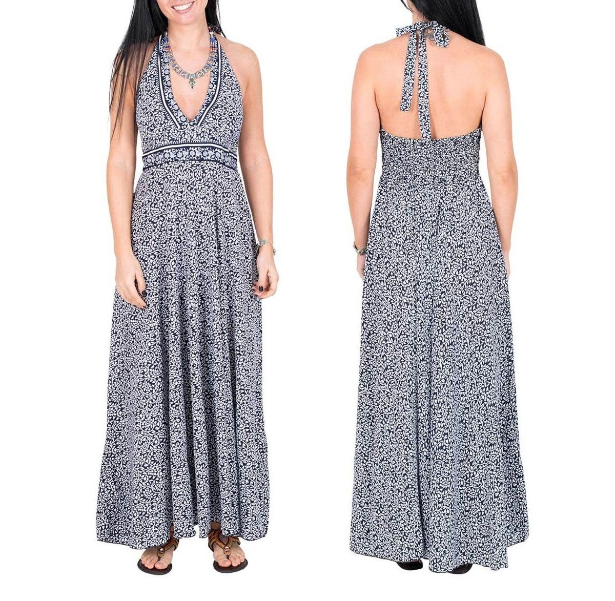 Robe longue en soie blanche/bleue | Robes d'été pour femmes