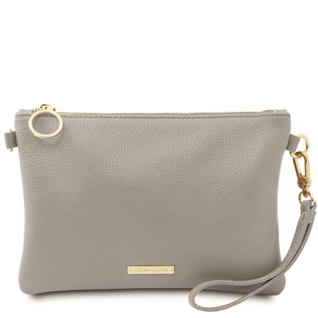 Tuscany Leather TL142029 TL Bag Pochette in pelle morbida Grigio chiaro
