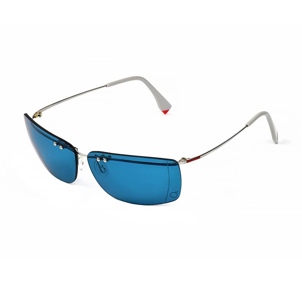 Occhiali da sole leggeri con lenti azzurre a specchio