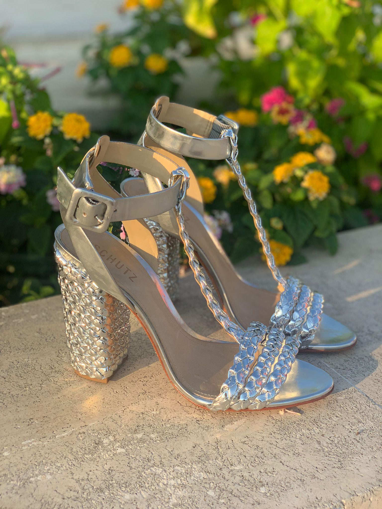 Sandalo con treccia argento Schutz