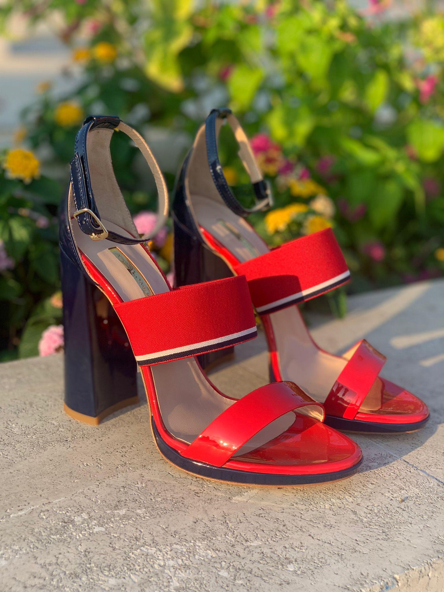 Sandalo alto rosso e blu Atos Lombardini
