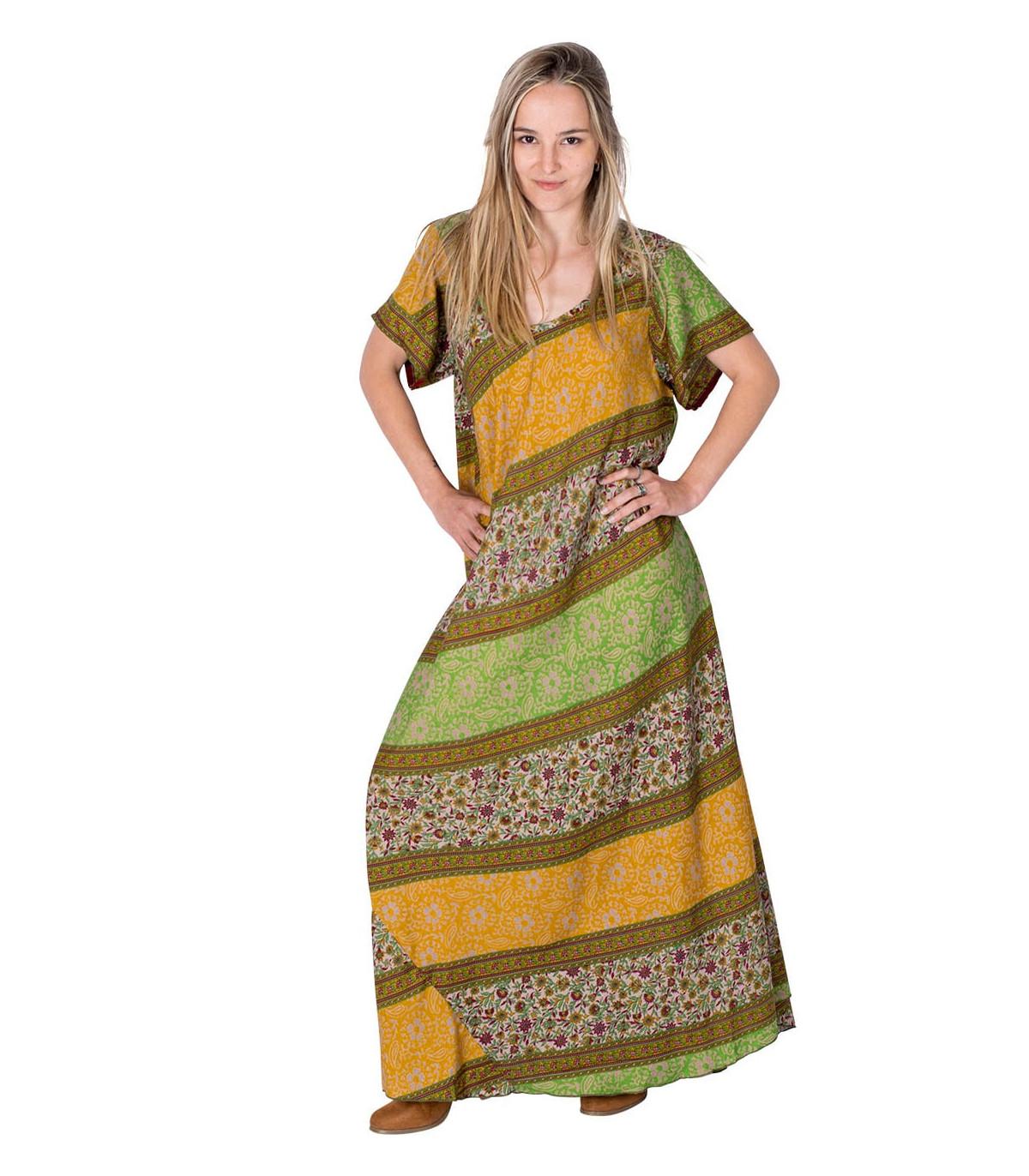 Vestito etnico ampio manica corta | Abiti in seta indiana