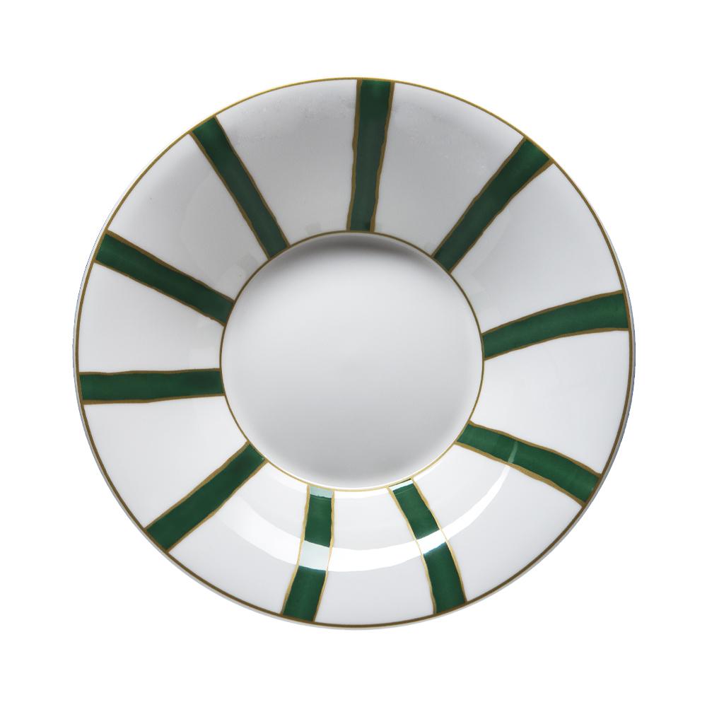 Piatto fondo cm 22 | Striche Verdi e Oro