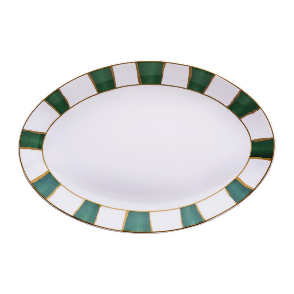 Piatto ovale cm 32 | Striche Verdi e Oro