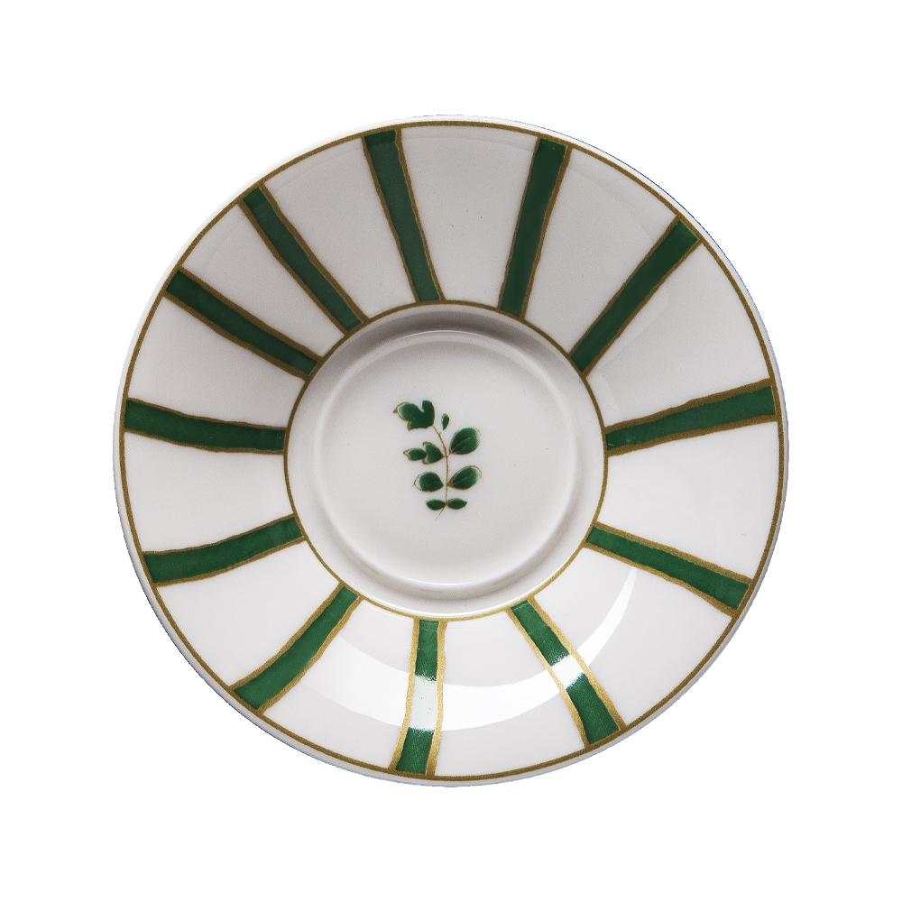 Piattino per tazza caffè cm 12 | Striche Verdi e Oro