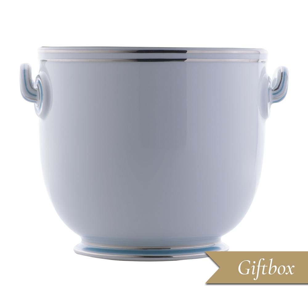 Cache pot grande in Giftbox GCV - Fili platino e azzurro