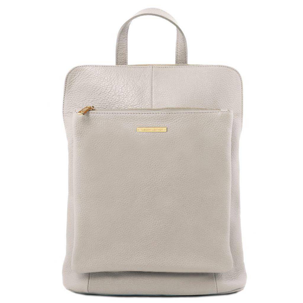 Tuscany Leather TL141682 TL Bag Zaino donna in pelle morbida Grigio chiaro