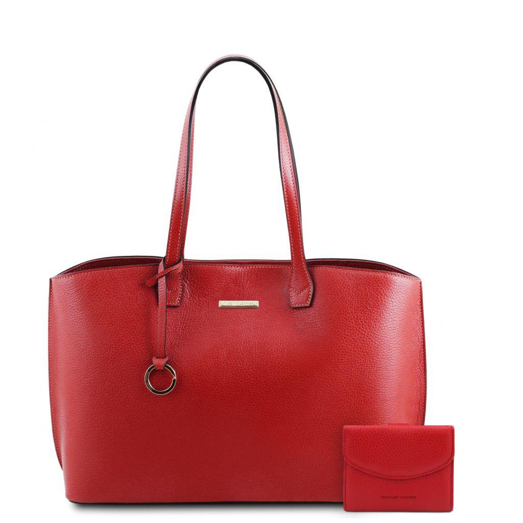 Tuscany Leather TL142157 Pantelleria Borsa shopping in pelle e portafoglio in pelle 3 ante con portaspicc