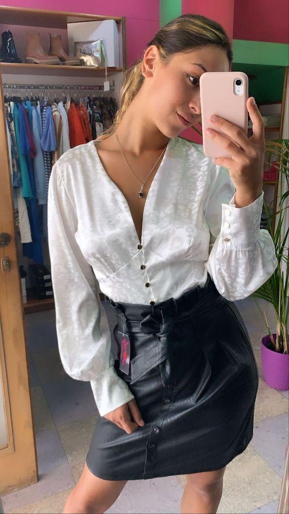 Camicia in raso maculato con bottoni 2 Colori