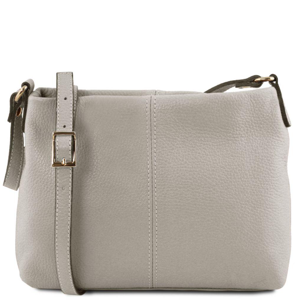 Tuscany Leather TL141720 TL Bag Borsa a tracolla in pelle morbida Grigio chiaro