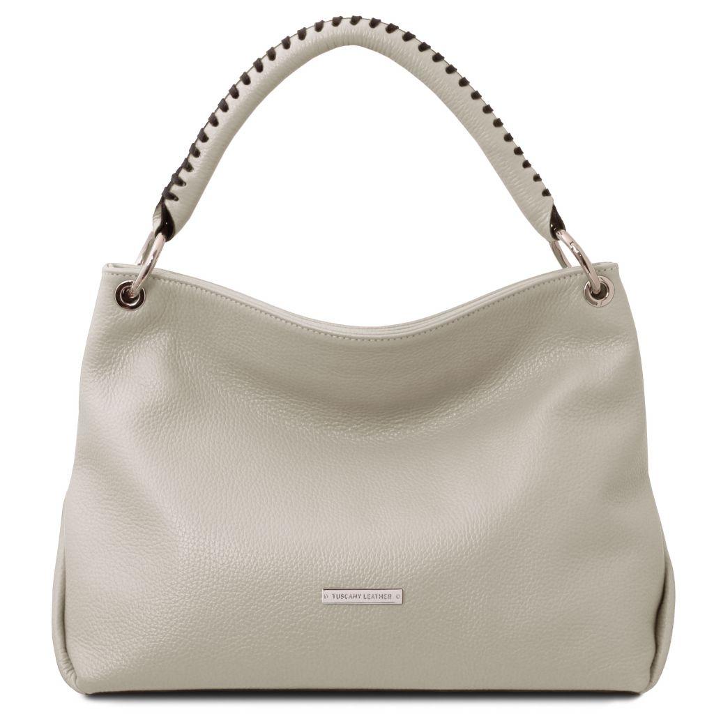Tuscany Leather TL142087 TL Bag Borsa a mano in pelle morbida Grigio chiaro