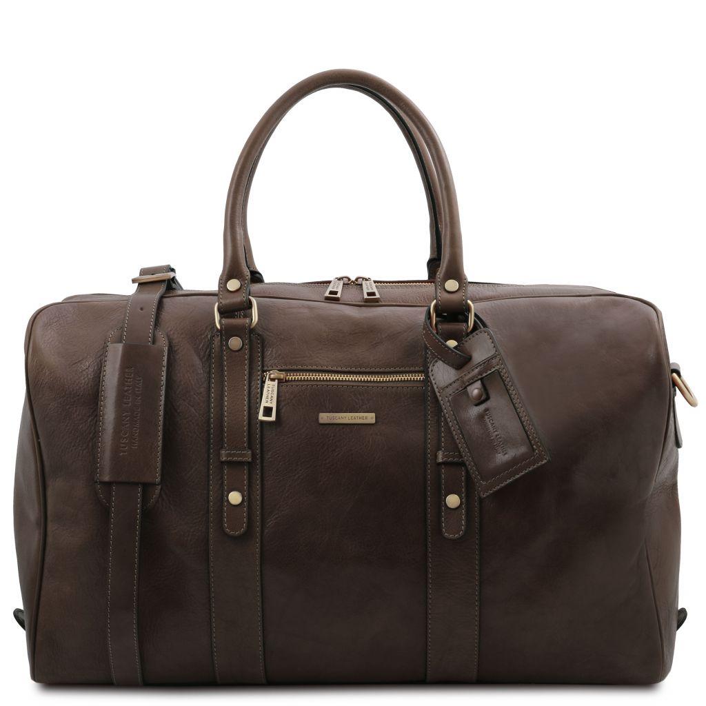 Tuscany Leather TL142140 TL Voyager Borsa da viaggio in pelle con tasca frontale Testa di Moro