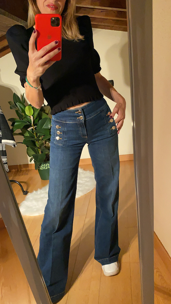 Jeans Wide Leg bottoni Vicolo