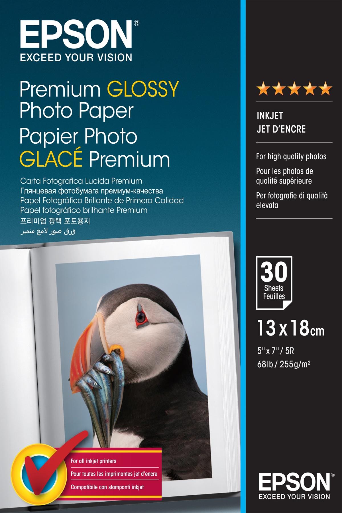 Epson Premium Glossy Photo Paper - 13x18cm - 30 Fogli