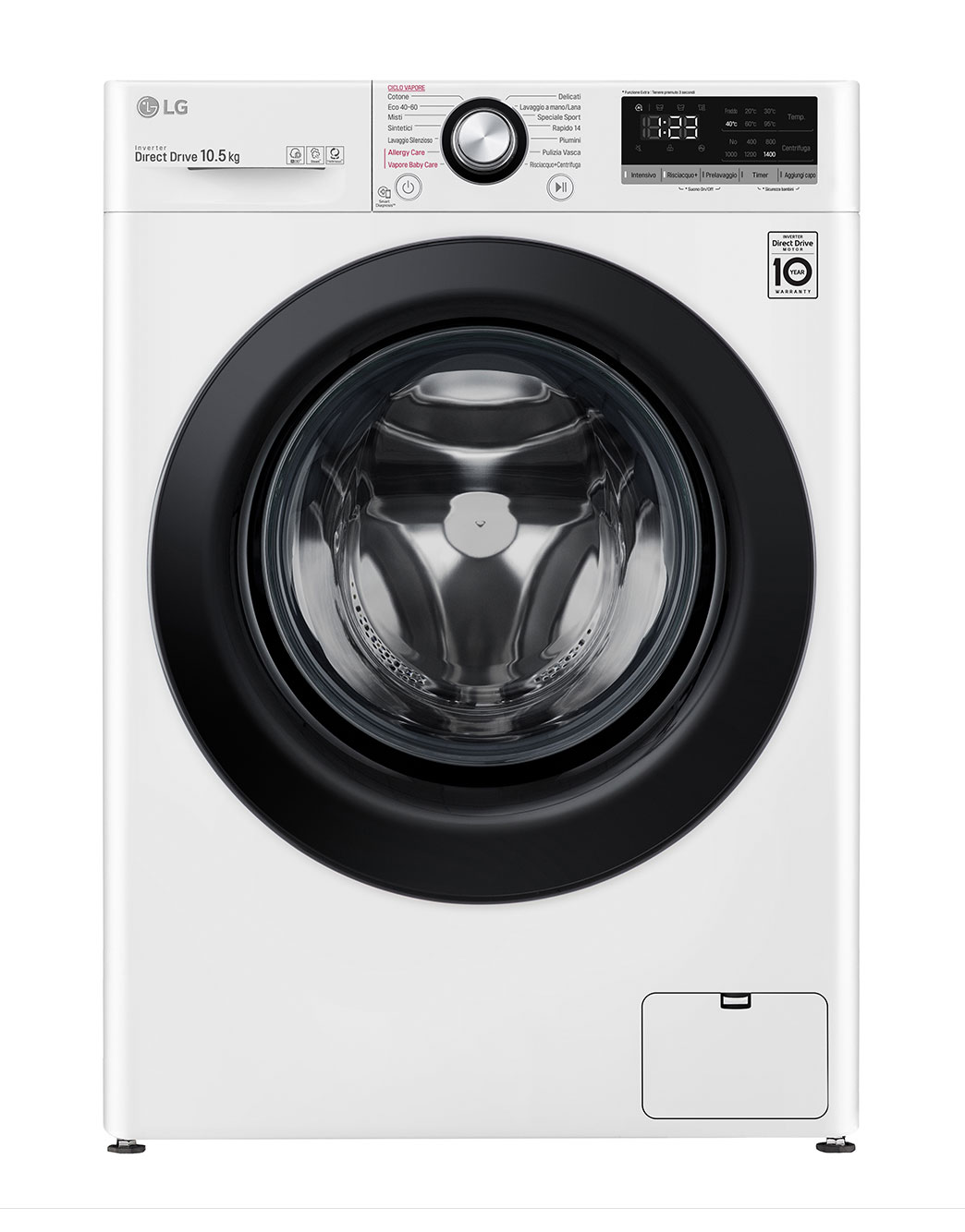 LG F4WV310S6E Lavatrice Intelligente AIDD 10,5kg Vapore 1400 Giri/min Carica frontale Classe B