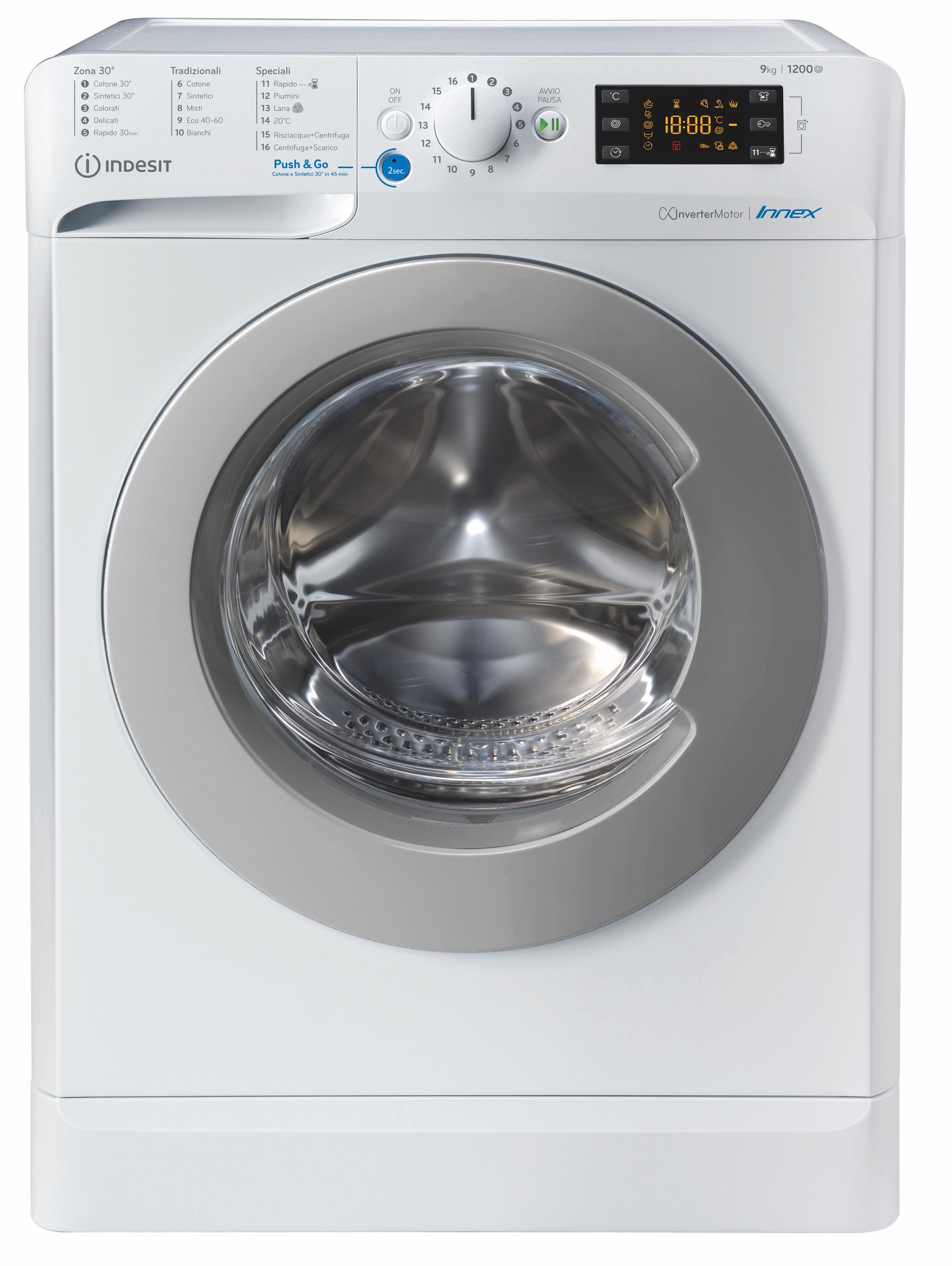 Indesit BWE 91284X WS IT N lavatrice Caricamento frontale 9 kg 1200 Giri/min C Bianco