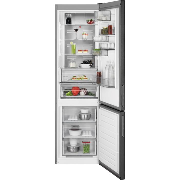 AEG RCB736D5MB frigorifero con congelatore Libera installazione 367 L D Nero, Grigio, Acciaio inossidabile