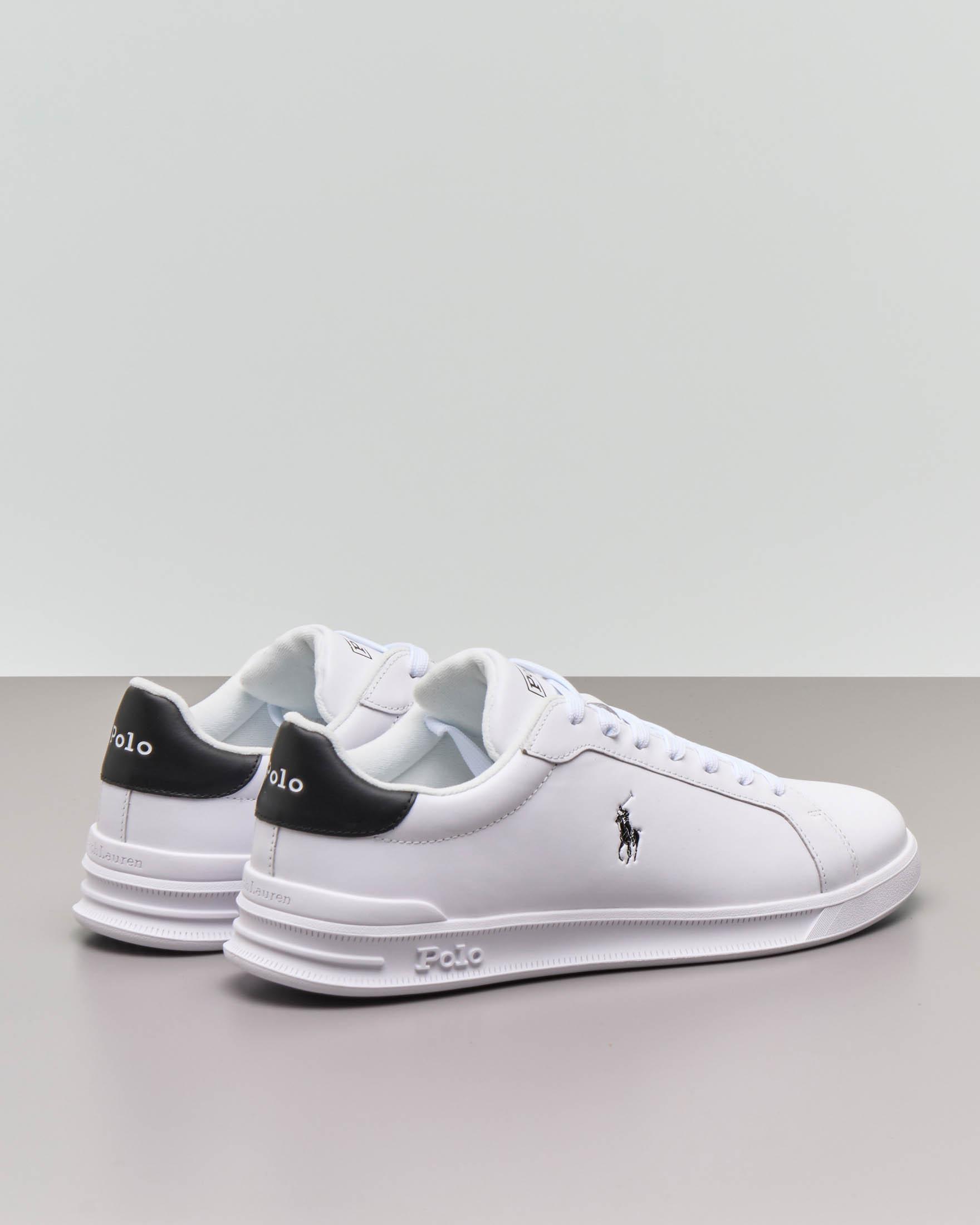 Sneaker Heritage Court II bianca in pelle con dettaglio nero