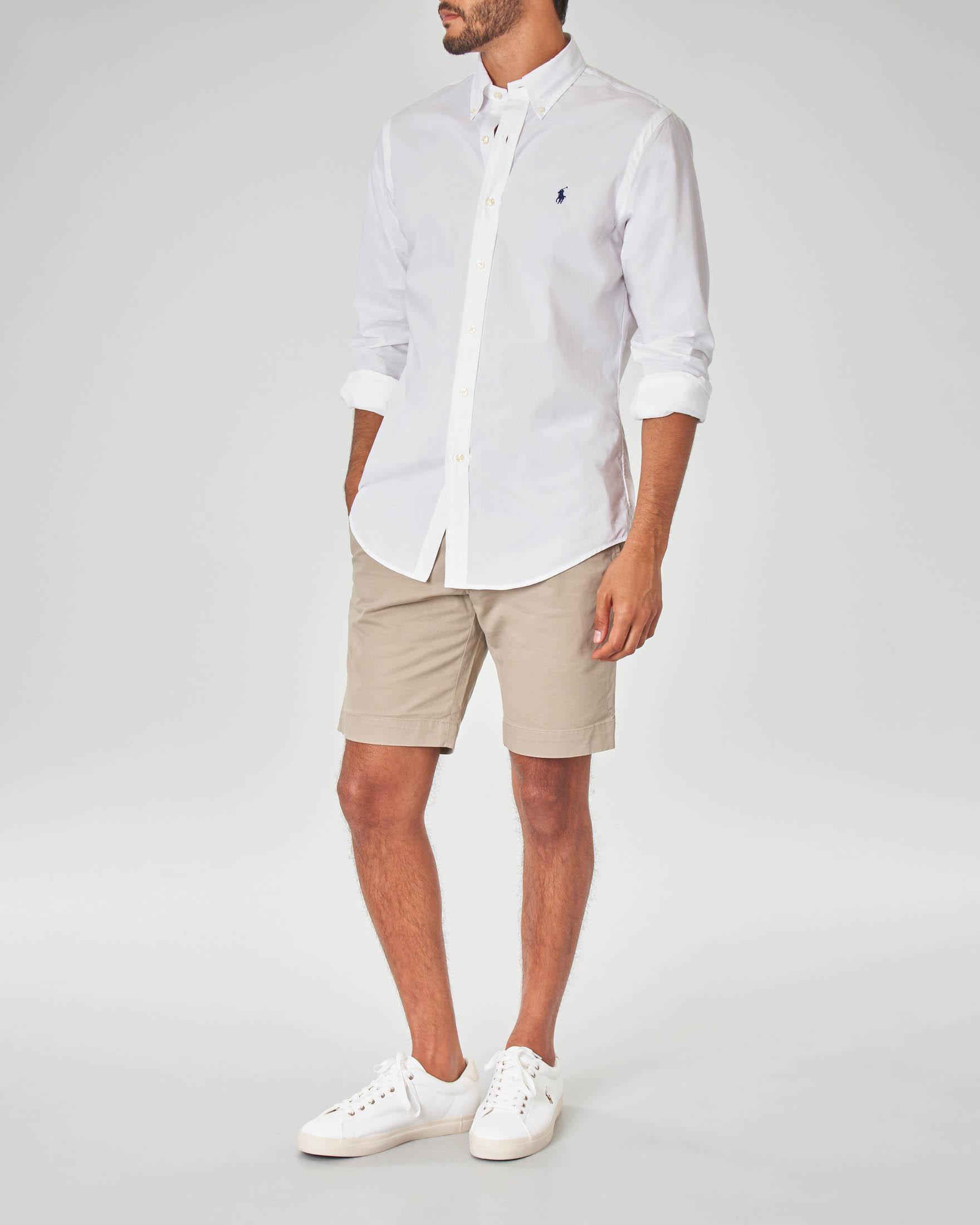 Camicia bianca slim-fit in popeline di cotone con collo button down