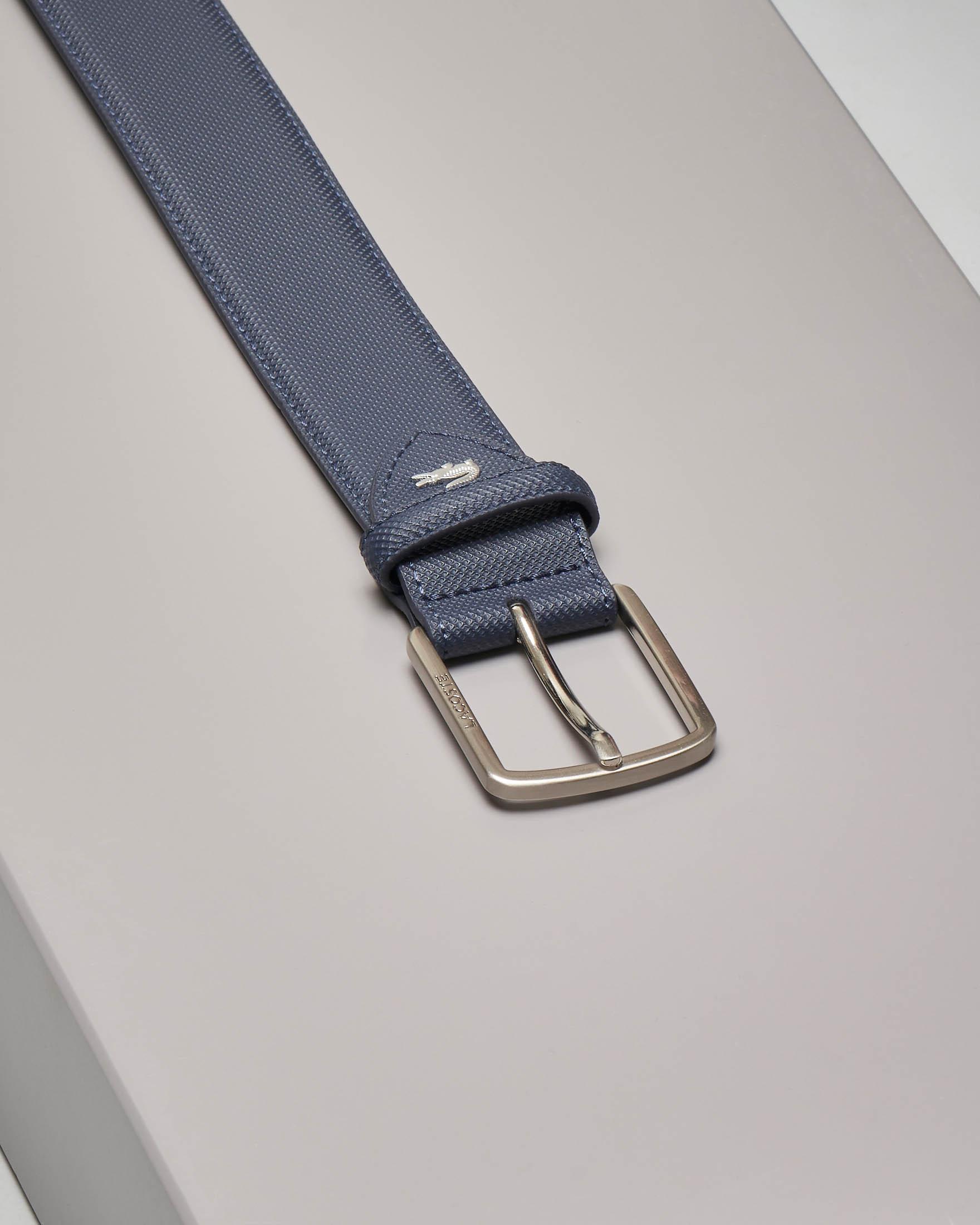 Cintura blu in canvas piqué con coccodrillo in metallo applicato