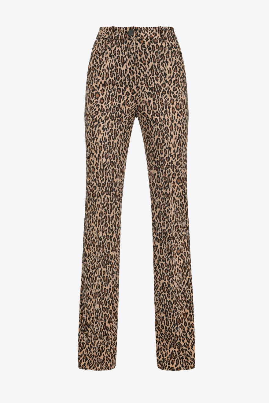 Pantalone Abha 4 flared animalier con logo Pinko