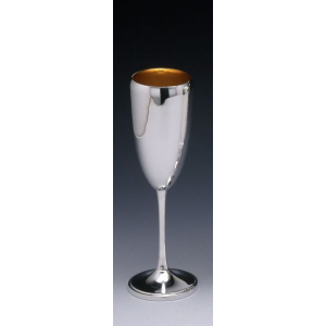 Calice flute in argento massiccio 800 con interno oro stile Inglese