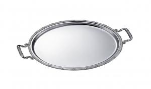 Vassoio ovale placcato argento con manici
