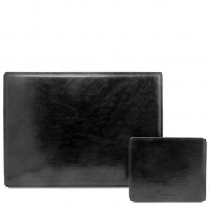 Tuscany Leather TL141980 Office Set - Sottomano da scrivania e tappetino per mouse in pelle Nero