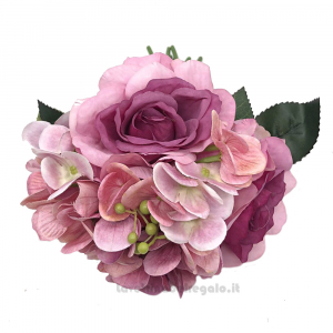 Artificial flowers bouquet with Pink Rose Hidrangea 11 inc - Wedding decorations