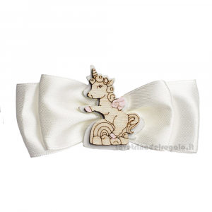 Ivory Bow close package with Pink Unicorn in wood 3.5 inc - Girl baptism decorations